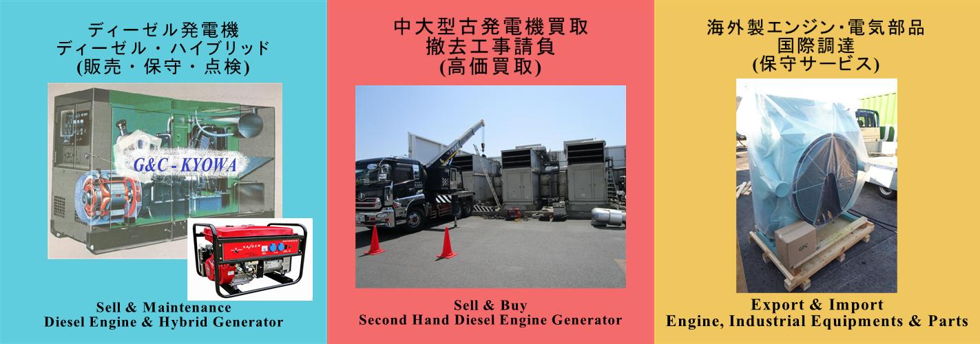 船舶エンジン・部品、ディーゼル発電機、ハイブリッド発電機、アフターメンテナンス、MAN & Lindenberg、Diesel Engine Generator、Hybrid Generator (LPG & Gasoline)、Industrial Equipments & Parts